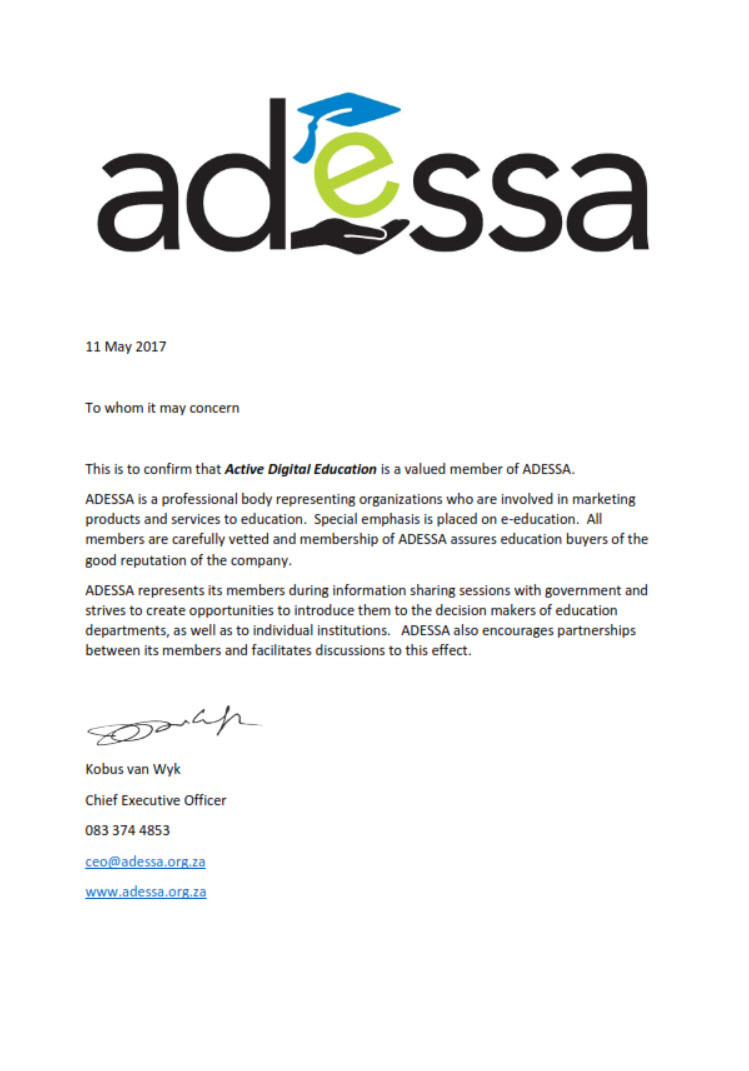 ADESSA accreditation